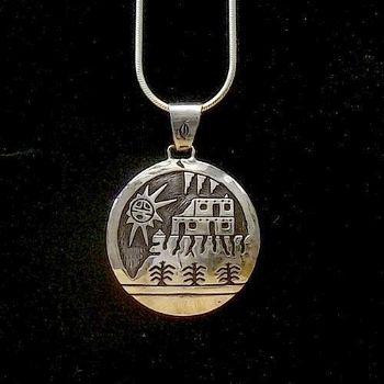 Large Sterling Silver Scenic Hopi Pendant